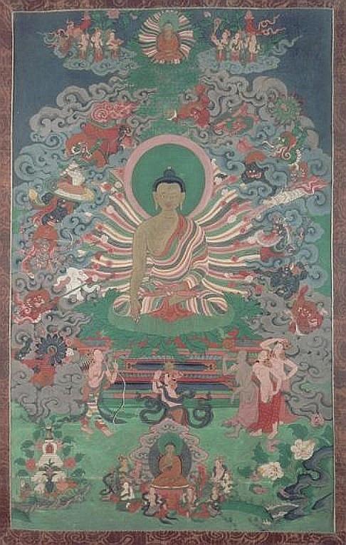 Joseph Hackin (1886-1941) : Mythologie du lamaïsme (Tibet) — Mythologie asiatique illustrée, Librairie de France, Paris, 1928. Scènes de la vie du Bouddha.L'assaut de Mara.