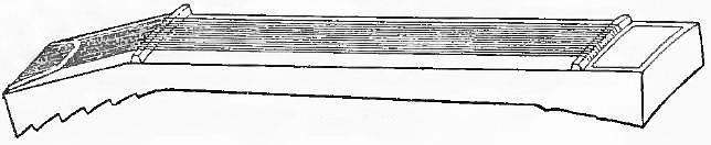 117 Tcheng. Se de petite taille, en bois d'éléococca ; le modèle ordinaire, employé dans l'orchestre mongol, a 14 cordes, chacune de 54 fils.