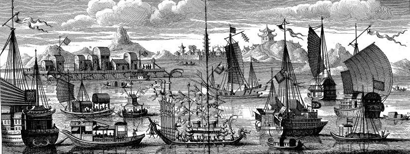 A. Sommes et barques chinoises. — B. Espèce de galère. — C. Barque en forme de dragon pour une fête qui se célèbre chaque année. — D. Différentes sortes de bateaux. — E. radeau