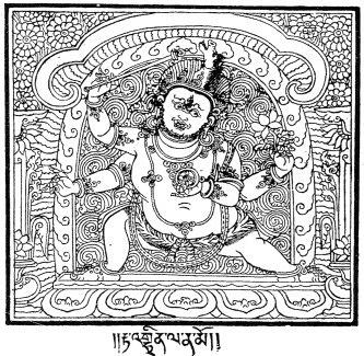 138. Le Drag-gšed rTa-mgrin (écrit rTa-'ghrin) (Hayagrîva). À quatre mains ; ses attributs sont : un bâton, une roue (un lasso), une fleur de lotus ; dans ses cheveux ébouriffés est une tête le cheval. Quelquefois on trouve un crâne au bout du bâton.