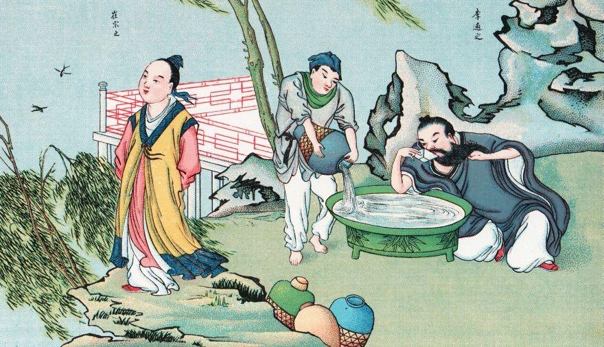 A droite, Li-che-tche.Homme de cour et poète distingué, devint ministre d'État, et reçut le titre de duc. Il démissionna en 746, fut accusé d'avoir trempé dans une révolte, et s'empoisonna, en 747.
