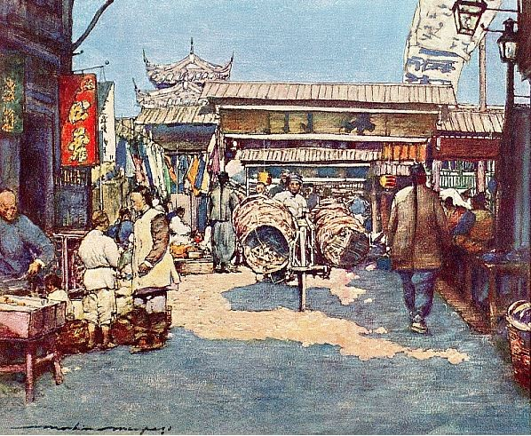 A temple. Mortimer MENPES (1855-1938), Henry Arthur BLAKE (1840-1918) : China. — Adam and Charles Black, Londres, 1932, 138 pages, + 16 illustr. couleurs + 64 illustr. noir et blanc.