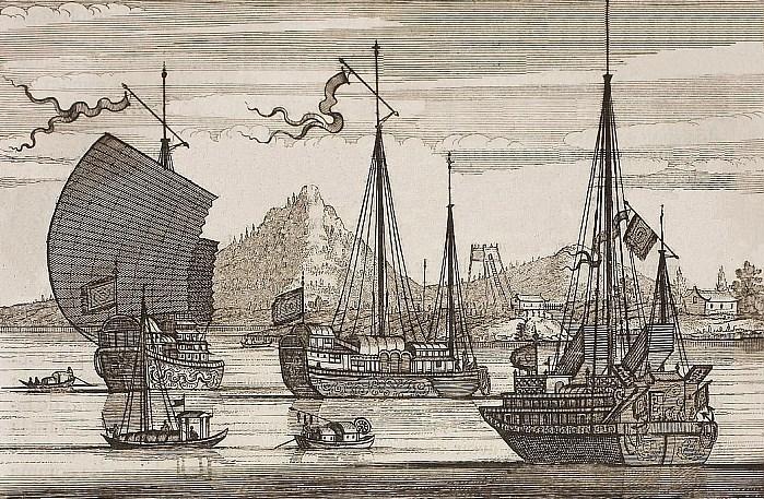 Bateaux chinois. Jean Nieuhoff (1618-1672) : L'ambassade de la Compagnie Orientale des Provinces Unies, vers l'empereur de la Chine. Jacob de Meurs, Leyde, 1665. 424 pages, 143 illustrations.