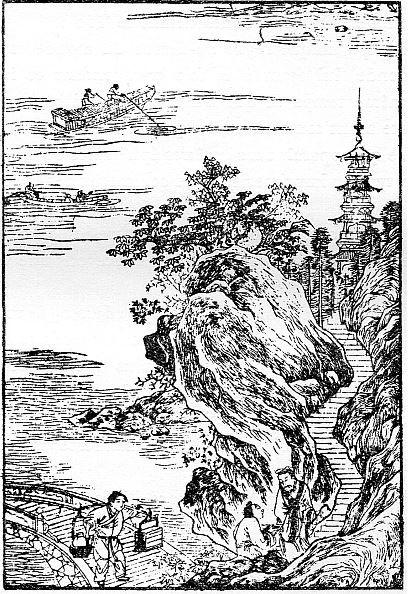 La visite au monastère. — Gisbert COMBAZ (1869-1941) : La peinture chinoise vue par un peintre occidental. —  Extrait des Mélanges chinois et bouddhiques, vol. VI. Imprimerie sainte Catherine, Bruges, 1939.