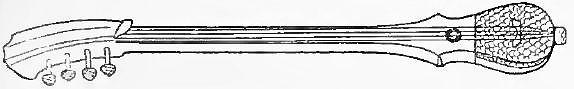 139 Hwo-pou-seu, instrument de l'orchestre mongol ; manche en éléococca, caisse très petite en poirier, recouverte de peau de serpent ; les 4 cordes sont attachées par des lanières de cuir à un morceau de bois fiché dans la caisse.