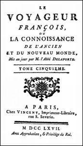 Couverture; Joseph de La Porte (1714-1779) : Le Voyageur français, ou la connaissance de l'ancien et du nouveau monde. Lettres LV à LXVI. La Chine. Formose. Vincent, Paris, 1767. Tome V.