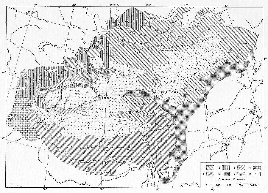 Carte ethnographique de la Haute Asie. F. Grenard : Haute Asie. [Mongolie, Turkestan chinois, Tibet]. Deuxième partie du tome VIII de la Géographie Universelle. A. Colin, Paris, 1929.