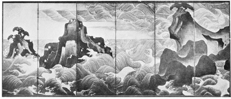Korin. Les vagues. Laurence BINYON (1869-1943) : Painting in the Far East.