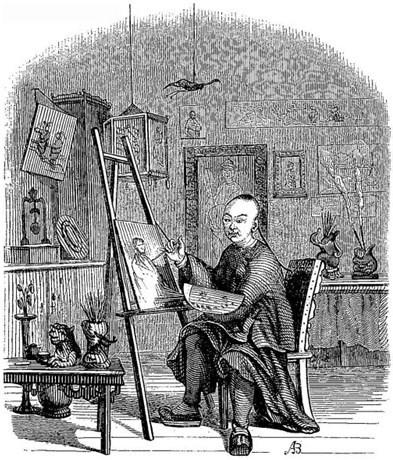 Old Nick [Émile Daurand-Forgues (1813-1883)], et Auguste Borget (1807-1877) pour les illustrations : La Chine ouverte. Aventures d'un fan-kouei dans le pays de Tsin. — Fournier, éditeur, Paris, 1845.