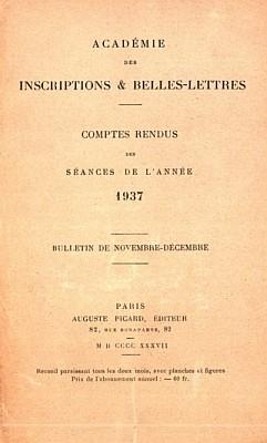 Couverture. Henri Maspero (1883-1945) : Les dieux taoïstes ; comment on communique avec eux. — Comptes rendus des séances de l'Académie des Inscriptions et Belles-Lettres, 81e année, N. 5, 1937, pp. 362-374.