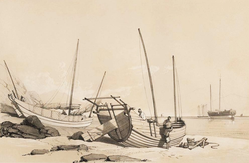 Caboteurs chinois échoués près de Macao.