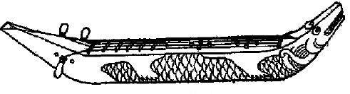 Mi-khyong-tsong, instrument de l'orchestre birman, formé d'un corps rectangulaire sans fond, prolongé par une tête et une queue relevées. On joue de l'instrument avec les doigts.