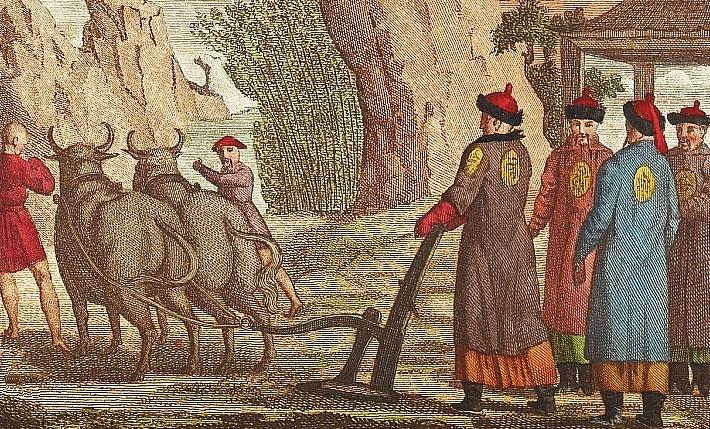 Fête de l'agriculture. Jean-Baptiste Breton de la Martinière (1777-1852) : La Chine en miniature, ou choix de costumes, arts et métiers de cet empire. — Nepveu, libraire, Paris, 1811.