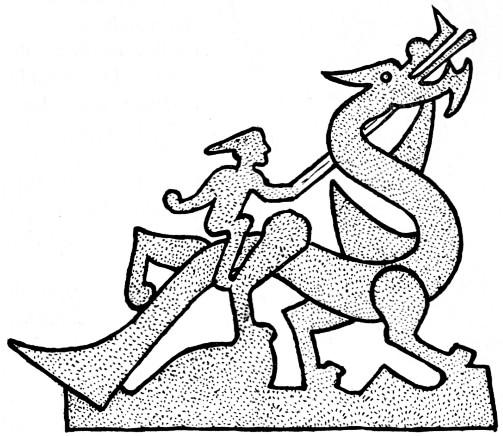 Fig. 138. Fragment d'une façade de tombeau. Gisbert Combaz (1869-1941) : Masques et dragons en Asie. La Chine. — Mélanges chinois et bouddhiques, Institut belge des Hautes Études Chinoises,  vol. VII. Bruges, 1945.