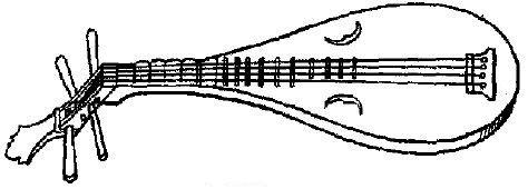123 Phi-pha, sorte de guitare, instrument très populaire qui figure aussi dans plusieurs orchestres du palais. Corps est en bois d'éléococca avec table d'harmonie plate, percée de deux ouïes et portant un chevalet.