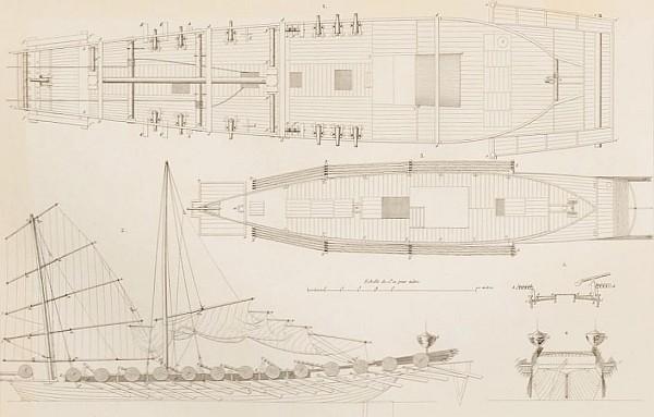50. Plan de jonque de guerre. François-Edmond PARIS (1806-1893) : Essai sur la construction navale des peuples extra-européens.  Arthus Bertrand, libraire, Paris, 1841.