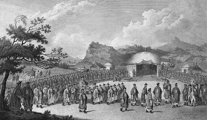 Approche de l'empereur de Chine vers sa tente, en Tartarie.