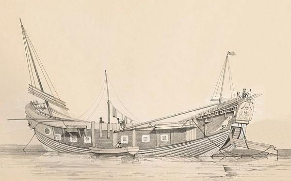 54. Bateau pour le transport de sel. François-Edmond PARIS (1806-1893) : Essai sur la construction navale des peuples extra-européens.  Arthus Bertrand, libraire, Paris, 1841.