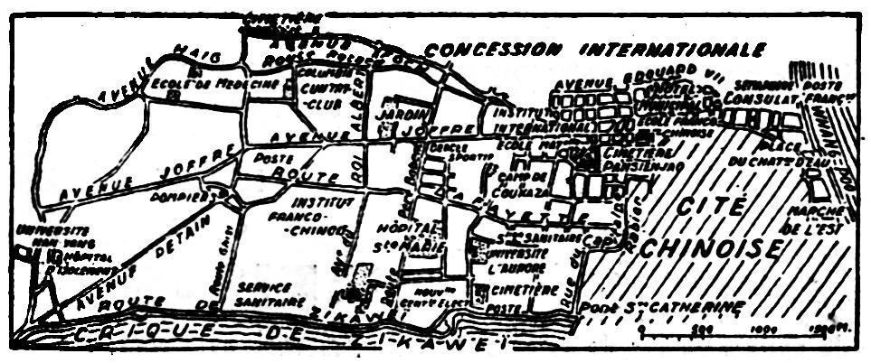 Plan de la concession française. Les tragiques journées de Changhaï racontées par Albert Londres (1884-1932)  à partir des câblogrammes envoyés de Changhaï au quotidien parisien Le Journal, du 31 janvier au 5 mars 1932.