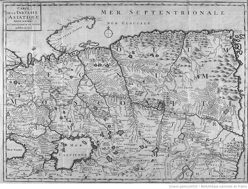 Carte. Laurent Lange (1690-1752) : Journal du voyage à la Chine. — 1715-1717. Extrait de : Recueil de voyages au Nord. — J. F. Bernard, Amsterdam, 1734. Tome V.