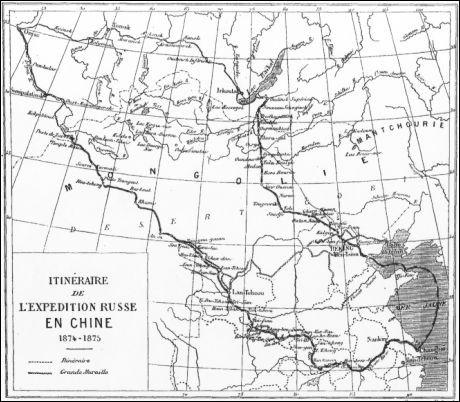 itinéraire de l'expédition russe en Chine 1874-1875