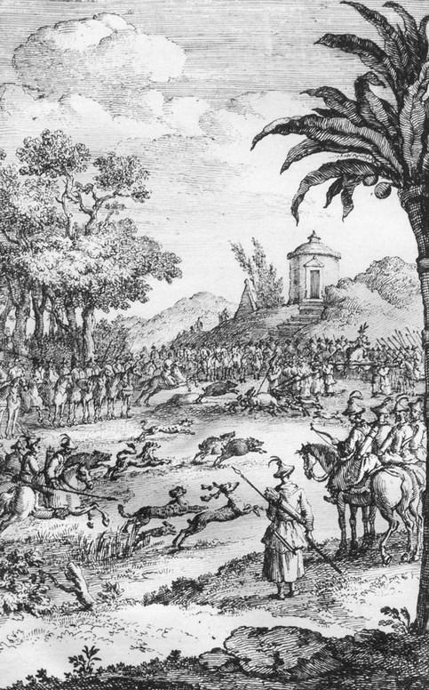 Partie de chasse. Jean Bell d'Antermony (1691-1780) : Voyages depuis St Petersbourg en Russie dans diverses contrées de l'Asie,... à Pékin, à la suite de l'ambassade envoyée par le Czar Pierre I, à Kamhi, Empereur de la Chine.