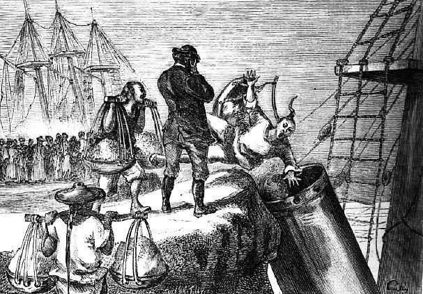 Un malheureux Chinois fut entraîné dans un tube resserré. Ludovic de Beauvoir (1846-1929) : Voyage autour du monde... La Chine. Plon, Paris, 3 tomes 1867-1872.