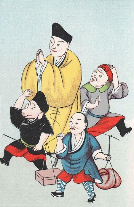 Le bonze T'ang-seng, et ses compagnons de voyage, Suen-heou-tse, Cha-houo-chang et Tchou-pa-kiai.