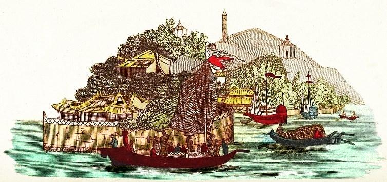 Palais de Yuen-ming-Yuen. Jean-Baptiste Breton de la Martinière (1777-1852) : La Chine en miniature, ou choix de costumes, arts et métiers de cet empire. — Nepveu, libraire, Paris, 1811.