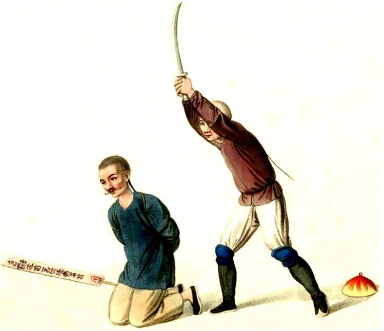 Les punitions des Chinois. Texte de George Henry Mason. Gravures de J. Dadley. G. Miller, Londres, 1801. 22. Manière de couper la tête, ou décapiter.