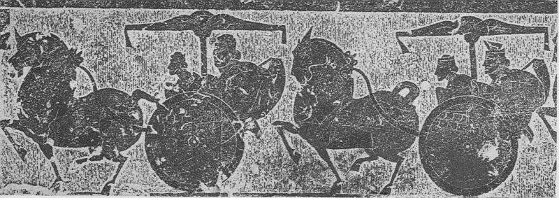 XXXII c. Sculpture ciselée, registre inférieur de la neuvième pierre des chambrettes de gauche de Wou Leang-ts'eu.  Époque Han (IIIe siècle av. J.-C. — IIIe siècle ap. J.-C.).