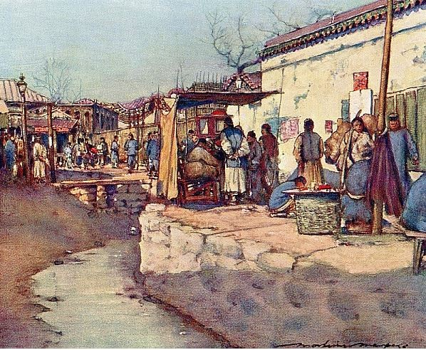 On the way to market. Mortimer MENPES (1855-1938), Henry Arthur BLAKE (1840-1918) : China. — Adam and Charles Black, Londres, 1932, 138 pages, + 16 illustr. couleurs + 64 illustr. noir et blanc.