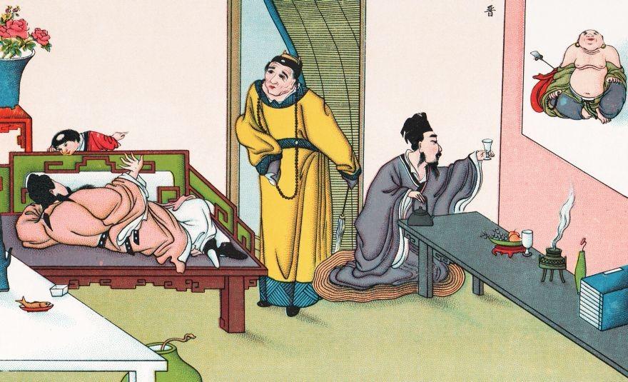 A gauche, Li-t'ai-pé ivre, et le chef des eunuques Kao Li-che. L'empereur s'avisa d'ordonner à Kao-li-che, de se mettre à genoux pour retirer les bottes de Li-t'ai-pé.  Kao-li-che se crut insulté, et résolut de le perdre dans l'esprit de l'empereur.