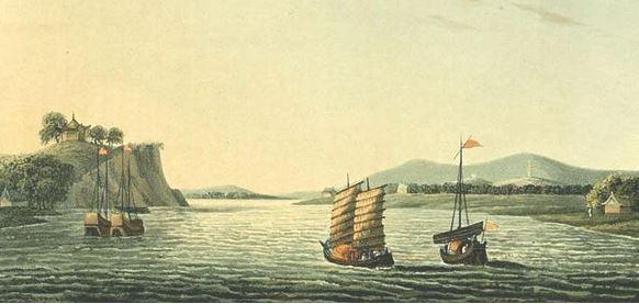 temple de Kwan-yin-mun. Henry Ellis : Voyage en Chine. Paris, 1818.