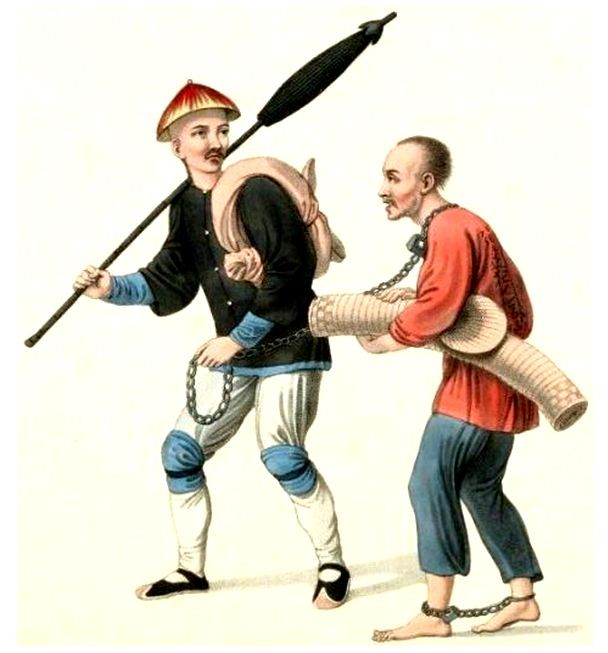 Les punitions des Chinois. Texte de George Henry Mason. Gravures de J. Dadley. G. Miller, Londres, 1801. 19. Malfaiteur conduit au lieu de son bannissement.