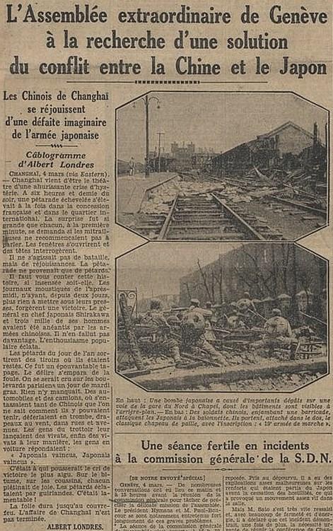 Soldats chinois. Les tragiques journées de Changhaï racontées par Albert Londres (1884-1932)  à partir des câblogrammes envoyés de Changhaï au quotidien parisien Le Journal, du 31 janvier au 5 mars 1932.