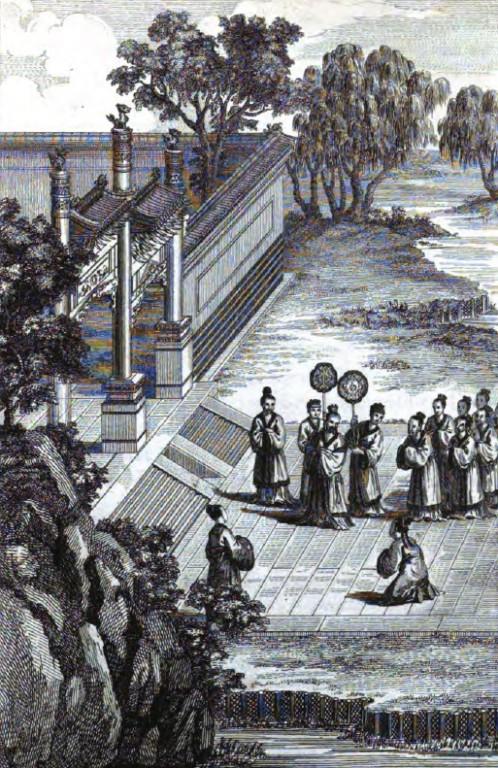 Le Roi Ngai-koung sortant de faire les cérémonies respectueuses dans le Miao, en l'honneur de Confucius