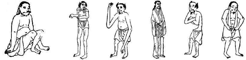 Hommes aux jambes croisées, aux longues jambes, aux longs bras, les géants, sans ventre, les oreillards. Fernand de Mély (1852-1935) : Le « De Monstriis » chinois. Revue archéologique, 1897.