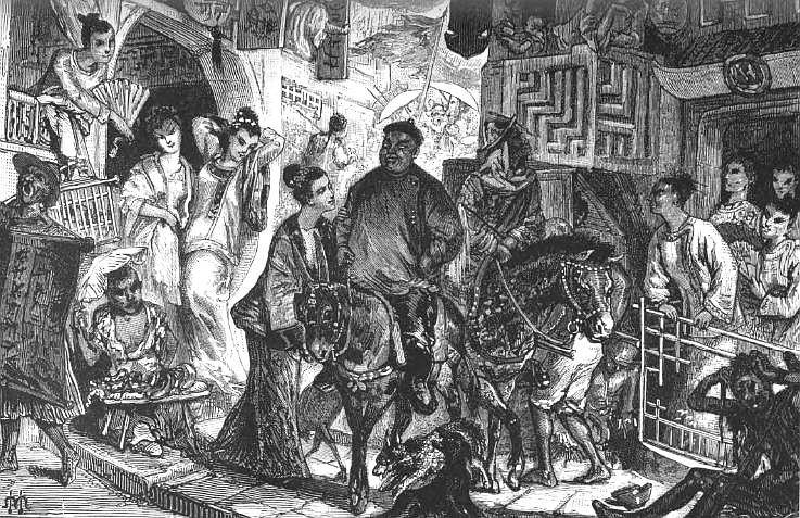Le passage d'un gros bonnet dans une rue de Canton. Ludovic de Beauvoir (1846-1929) : Voyage autour du monde... La Chine. Plon, Paris, 3 tomes 1867-1872.
