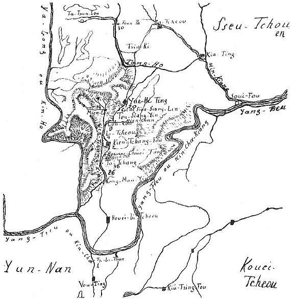 Carte. Ch. FRANÇOIS : Notes sur les Lo-Lo du Kien-Tchang Bulletins et Mémoires de la Société d'Anthropologie de Paris, tome 5, 1904, pages 637-646.