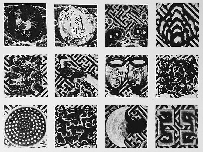 Détail des emblèmes et attributs . Vuilleumier. Tissus et tapisseries de soie dans la Chine ancienne.