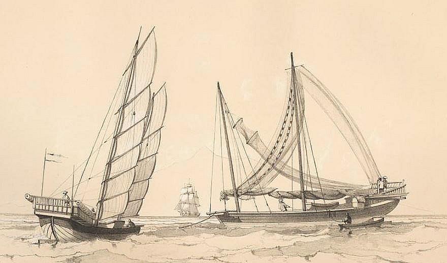 Grands bateaux de pêche, au mouillage ou à la voile