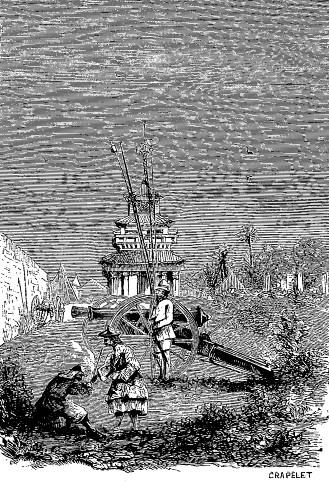 Batterie de brèche française à Pé-King. Lucy : Lettres intimes sur la campagne de Chine en 1860. Barile, Marseille, 1861.