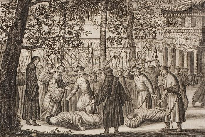 L'empereur se pend à un prunier. Jean Nieuhoff (1618-1672) : L'ambassade de la Compagnie Orientale des Provinces Unies, vers l'empereur de la Chine. Jacob de Meurs, Leyde, 1665. 424 pages, 143 illustrations.