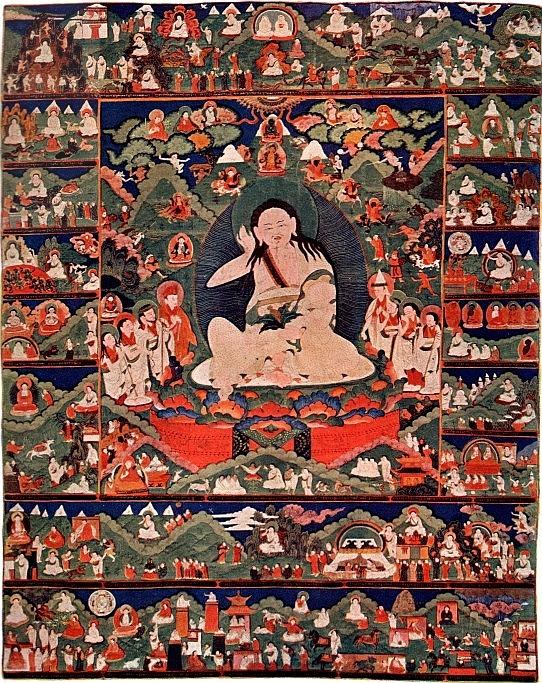 Joseph Hackin (1886-1941) : Mythologie du lamaïsme (Tibet) — Mythologie asiatique illustrée, Librairie de France, Paris, 1928. Milaraspa, le poète.