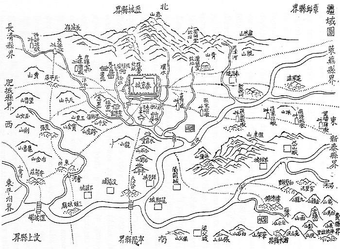 Plan de la sous préfecture de T'ai-ngan. Édouard Chavannes (1865-1918) : Le T'ai Chan. Essai de monographie d'un culte chinois.