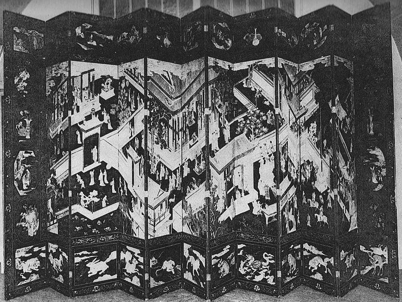 Planche VII. Paravent. M.-J. BALLOT : Les laques d'Extrême-Orient : Chine et Japon. G. Vanoest, éditeur, Paris et Bruxelles, 1927.