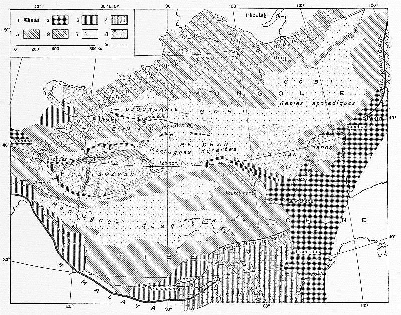 Distribution de la végétation et des déserts dans la Haute Asie. F. Grenard : Haute Asie. [Mongolie, Turkestan chinois, Tibet]. Deuxième partie du tome VIII de la Géog. Universelle.Colin, Paris, 1929.