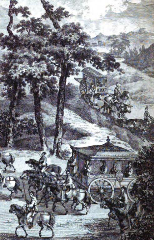 Ling-koung, Roi de Ouei, est dans sa voiture avec Nan-tsée sa concubine. Les personnages sont ceux de sa suite.