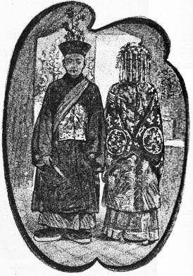 Les mariés. René de Pont-Jest : Le Fleuve des Perles (L'Araignée-Rouge). Émile Dentu, Paris, 1889, 420 pages, 197 dessins par Félix Régamey.